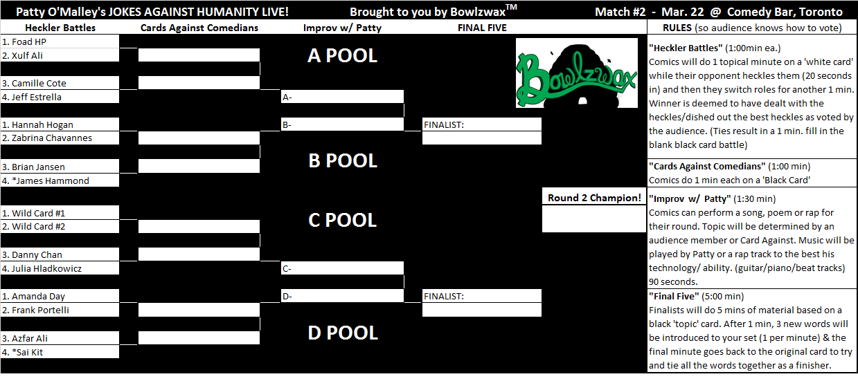 March 22 - Bracket for Jokes Against Humanity Live at Comedy Bary Toronto