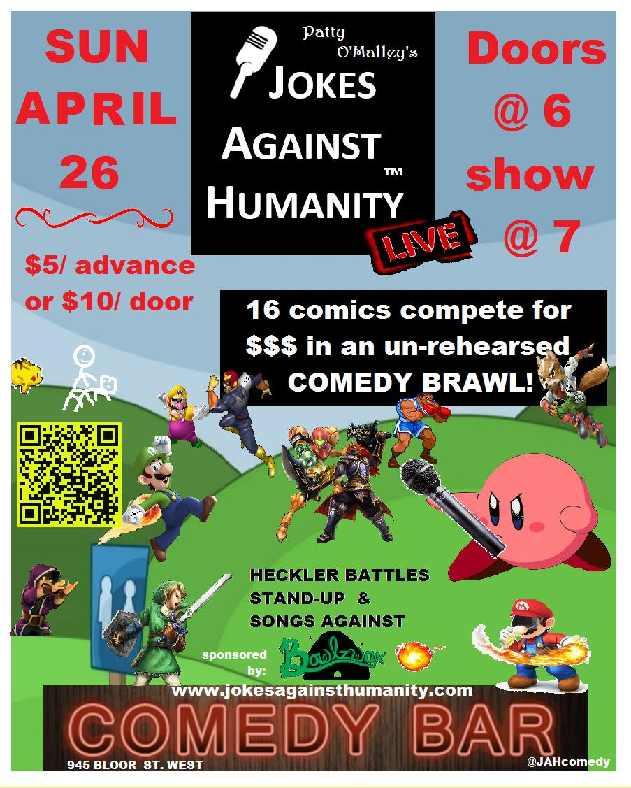 comedy bar april 26 jokes against humanity