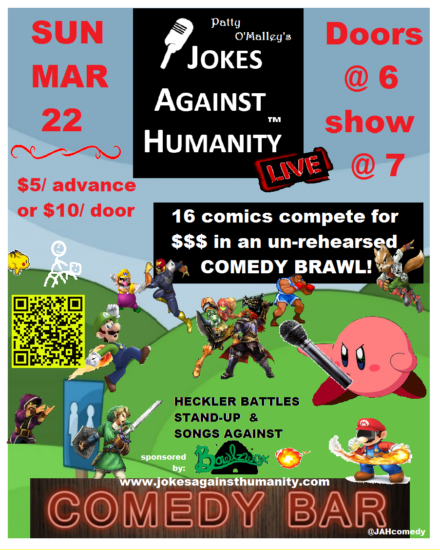 Jokes Against Humanity - Comedy Bar - Sunday March 22
